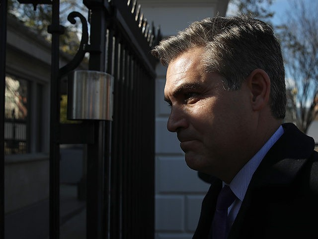 WASHINGTON, DC - NOVEMBER 16: CNN White House correspondent Jim Acosta arrives at the White House gate as he returns to work following a court ruling restoring his ability to report from the White House on November 16, 2018 in Washington, DC. CNN filed a lawsuit against U.S. President Donald …