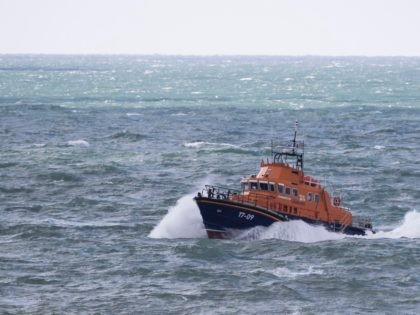 DOVER, ENGLAND - APRIL 04: An RNLI vessel makes it's way along the coastline near Samphire Hoe on April 4, 2019 in Dover, England. Two separate incidents of migrants coming ashore have been reported along the Kent coast near Folkestone this morning. (Photo by Dan Kitwood/Getty Images)