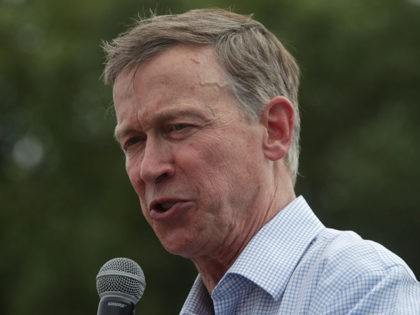 DES MOINES, IOWA - AUGUST 10: Democratic presidential candidate and former Governor of Colorado John Hickenlooper delivers a campaign speech at the Des Moines Register Political Soapbox at the Iowa State Fair on August 10, 2019 in Des Moines, Iowa. 22 of the 23 politicians seeking the Democratic Party presidential …
