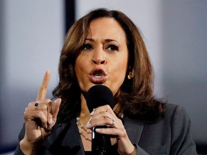 Democratic presidential hopeful, California Senator, Kamala Harris speaks at the California Democratic Party 2019 Fall Endorsing Convention in Long Beach, California on November 16, 2019. (Photo by CHRIS CARLSON / POOL / AFP) (Photo by CHRIS CARLSON/POOL/AFP via Getty Images)