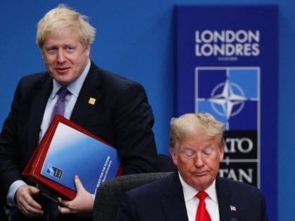 HERTFORD, ENGLAND - DECEMBER 04: UK Prime Minister Boris Johnson (L) and U.S. President Donald Trump (R) attend the NATO summit at the Grove Hotel on December 4, 2019 in Watford, England. France and the UK signed the Treaty of Dunkirk in 1947 in the aftermath of WW2 cementing a …