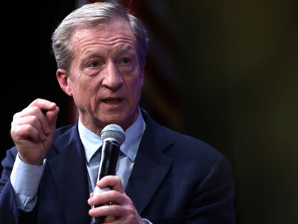 "NORTH LAS VEGAS, NEVADA - FEBRUARY 13: Democratic presidential candidate Tom Steyer participates in a LULAC Presidential Town Hall at The College of Southern Nevada February 13, 2020 in North Las Vegas, Nevada. League of United Latin American Citizens held the presidential town hall with Democratic presidential candidates ""to address …"