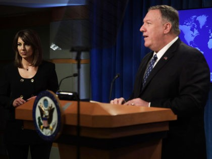 WASHINGTON, DC - FEBRUARY 25: U.S. Secretary of State Mike Pompeo speaks as State Department spokesperson Morgan Ortagus listens during a news briefing at the State Department February 25, 2020 in Washington, DC. Secretary Pompeo discussed various topics including the coronavirus outbreak and the peace talks in Afghanistan. (Photo by …