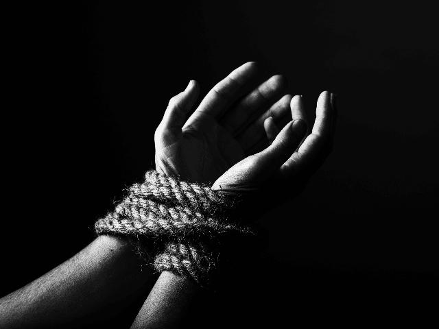 woman bound hands