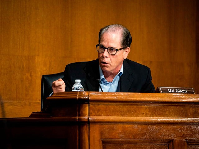 "Senator Mike Braun, a Republican from Indiana, speaks during a hearing titled ""Oversight of the Environmental Protection Agency"" in the Dirksen Senate Office Building on May 20, 2020 in Washington, DC. (Photo by Al Drago / POOL / AFP) (Photo by AL DRAGO/POOL/AFP via Getty Images)"