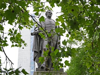 A statue of former British Prime Minister Robert Peel, is pictured in Piccadilly Gardens, Manchester, north west England on June 10, 2020. - Peel was British Prime Minister twice, and is regarded as the founder of the Police in Britain. (Photo by PAUL ELLIS / AFP) (Photo by PAUL ELLIS/AFP …