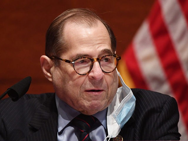 "House Judiciary Committee Chairman Jerry Nadler (D-NY) has his face mask partially removed at a House Judiciary Committee markup of H.R. 7120, the ""Justice in Policing Act of 2020,"" on Capitol Hill on June 17, 2020 in Washington,DC. (Photo by KEVIN DIETSCH / POOL / AFP) (Photo by KEVIN DIETSCH/POOL/AFP …"