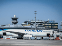 A photograph taken on June 24, 2020, shows an Corsair plane parked on the tarmac at the Terminal 3 of the Orly airport, in Orly on the outskirts of Paris, a few days before its reopening as France eases lockdown measures taken to curb the spread of the COVID-19 (the …