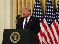 "WASHINGTON, DC - JUNE 17: U.S. President Donald Trump speaks during an East Room event to announce the ""PREVENTS Task Force"" at the White House June 17, 2020 in Washington, DC. President Trump held the event to announce plans to prevent suicides among U.S. military veterans. (Photo by Alex Wong/Getty …"