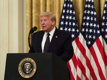 """WASHINGTON, DC - JUNE 17: U.S. President Donald Trump speaks during an East Room event to announce the """"PREVENTS Task Force"""" at the White House June 17, 2020 in Washington, DC. President Trump held the event to announce plans to prevent suicides among U.S. military veterans. (Photo by Alex Wong/Getty …"""