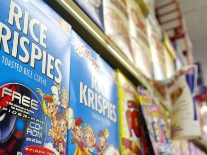 """405057 01: Rice Krispies boxes with a """"Spider-Man"""" promotion sit on a shelf May 7, 2002 in New York City. """"Spider-Man"""" the movie shattered records becoming the first movie to hit $100 million in its first weekend. (Photo by Mario Tama/Getty Images)"""