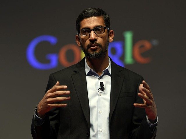 Google's Senior Vice President Sundar Pichai gives a keynote address during the opening day of the 2015 Mobile World Congress (MWC) in Barcelona on March 2, 2015. Phone makers will seek to seduce new buyers with even smarter Internet-connected watches and other wireless gadgets as they wrestle for dominance at the world's biggest mobile fair starting today. AFP PHOTO / LLUIS LLENE (Photo by Lluis GENE / AFP) (Photo by LLUIS GENE/AFP via Getty Images)