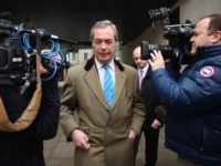 LONDON, ENGLAND - APRIL 02: UKIP party leader Nigel Farage leaves Broadcasting House after an interview on the BBC's Today Programme on radio 4 on April 2, 2015 in London, England. Mr Farage will face his political party opponents this evening when Green party leader Natalie Bennett, Liberal Democrat leader …