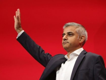 LIVERPOOL, ENGLAND - SEPTEMBER 27: The Mayor of London Sadiq Khan waves as he addresses the Labour conference for the first time since his election on September 27, 2016 in Liverpool, England. On day three of the annual conference at the ACC, Shadow Education Secretary Angela Rayner is to set …