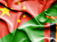 Waving flag of Zimbabwe and China