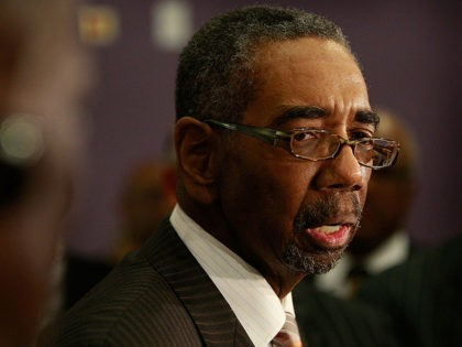 CHICAGO - MARCH 01: Congressman Bobby Rush (D-IL) addresses the media in support of U.S. Senator Roland Burris (D-IL), prior to a prayer and support service at the New Covenant Baptist Church March 1, 2009 in Chicago, Illinois. Many Illinois lawmakers are calling for Burris, who was appointed to the …