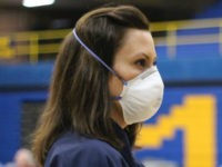 Michigan Gov. Gretchen Whitmer wearing coronavirus mask