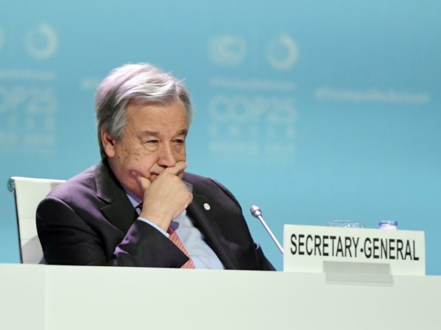 Secretary-General of the United Nations Antonio Guterres takes part in the Global Climate Action High-Level event at the UN Climate Change Conference COP25 at the 'IFEMA - Feria de Madrid' exhibition centre, in Madrid, on December 11, 2019. - Nations are gathered in Spain's capital to finalise the rulebook of …