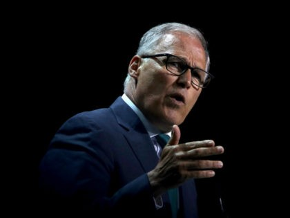 Democratic presidential candidate Washington Gov. Jay Inslee speaks during the California Democrats 2019 State Convention at the Moscone Center on June 01, 2019 in San Francisco, California. Several Democratic presidential candidates are speaking at the California Democratic Convention that runs through Sunday. (Photo by Justin Sullivan/Getty Images)