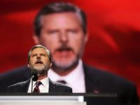 CLEVELAND, OH - JULY 21: President of Liberty University, Jerry Falwell Jr., delivers a speech during the evening session on the fourth day of the Republican National Convention on July 21, 2016 at the Quicken Loans Arena in Cleveland, Ohio. Republican presidential candidate Donald Trump received the number of votes …