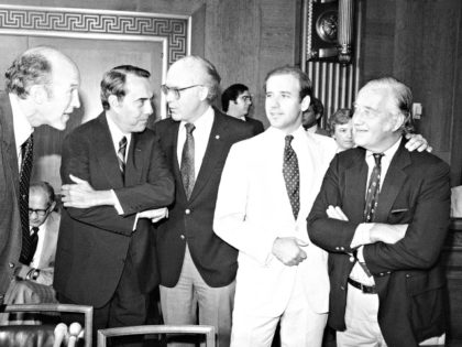In this Sept. 15, 1981 file photo, Sen. Patrick Leahy, D-Vt., center, confers with members of the Senate Judiciary Committee confer prior to voting to recommend the nomination of Supreme Court Nominee Sandra Day O'Connor, to the full Senate for confirmation in Washington, D.C. Last month U.S. Sen. Patrick Leahy …