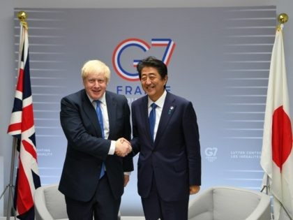 BIARRITZ, FRANCE - AUGUST 26: British Prime Minister Boris Johnson meets with Japanese Prime Minister Shinzo Abe on day three of the G7 Summit on August 26, 2019 in Biarritz, France. The French southwestern seaside resort of Biarritz is hosting the 45th G7 summit from August 24 to 26. High …