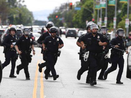 LAPD Van Nuys riots (Robyn Beck / AFP / Joel Pollak)