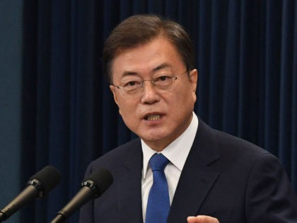 SEOUL, SOUTH KOREA - MAY 10: South Korean President Moon Jae-in speaks on the third anniversary of his inauguration at the presidential Blue House on May 10, 2020 in Seoul, South Korea. President Moon presented an ambitious vision on Sunday, for South Korea to take the initiative in the post-coronavirus …