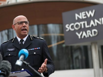 """Senior national coordinator for counter-terrorism Neil Basu speaks to the press outside New Scotland Yard in central London on March 13, 2018. Moscow today called Britain's accusations of its involvement in the poisoning of a former double agent an attempt to """"discredit"""" Russia and vowed to retaliate against any sanctions. …"""