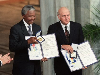 Nelson Mandela and F.W. de Klerk (Gerard Julien / AFP / Getty)