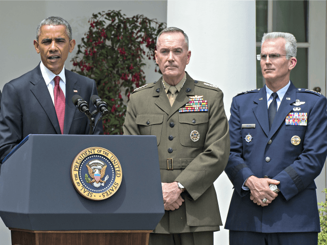 US President Barack Obama announces Marine Gen. Joseph Dunford (C) as his pick to be the next chairman of the Joint Chiefs of Staff and Air Force Gen. Paul Selva (R) as new vice chairman of the Joint Chiefs of Staff, in the Rose Garden of the White House in …