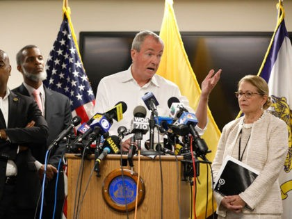 NEWARK, NJ - AUGUST 14: New Jersey Governor Phil Murphy speaks about Newark's ongoing water crisis during a press conference held at the Newark Health Department on August 14, 2019 in Newark, New Jersey. The city recently began distributing bottled water to residents affected by tap water that's been contaminated …