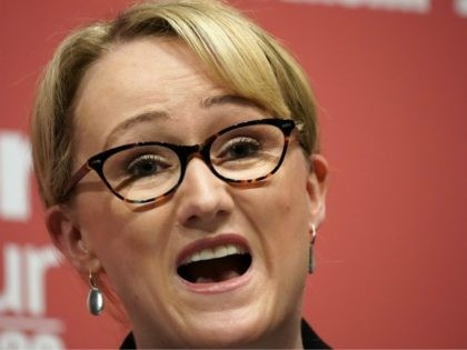 DUDLEY, ENGLAND - MARCH 08: Rebecca Long-Bailey, Shadow Secretary of State for Business addresses the audience during the last Labour Party Leadership hustings at Dudley Town Hall on March 08, 2020 in Dudley, England. Sir Keir Starmer, Rebecca Long-Bailey and Lisa Nandy are vying to replace Labour leader Jeremy Corbyn, …