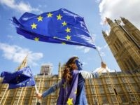 Pro-European Union demonstrators protest outside the Houses of Parliament against the first vote today on a bill to end Britain's membership of the EU on September 11, 2017. - MPs hold their first vote today on a bill to end Britain's membership of the EU, which ministers say will avoid …