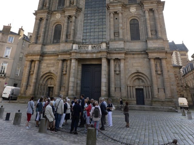 A picture taken on August 5, 2014 shows the Saint Pierre Cathedral in Rennes, western France. Saint-Pierre Cathedral of Rennes is a Roman Catholic cathedral, located in the heart of the city of Rennes, Ille-et-Vilaine. It is the seat of the Archdiocese of Rennes, Dol and Saint-Malo. AFP PHOTO /MIGUEL …