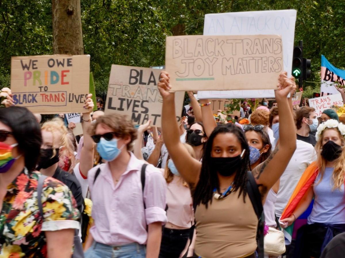 Black Trans Lives Matter Protest in London, June 27, 2020. Kurt Zindulka, Breitbart News