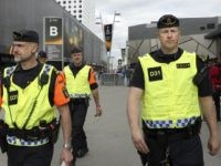 Police patrol outside the Friends arena in Solna outside Stockholm on May 23, 2017, on the eve of the UEFA Europa League football final between Ajax and Manchester United. / AFP PHOTO / SOREN ANDERSSON (Photo credit should read SOREN ANDERSSON/AFP via Getty Images)