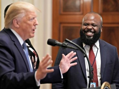 WASHINGTON, DC - OCTOBER 04: U.S. President Donald Trump introduces White House Deputy Director of the Office of American Innovation Ja'Ron Smith during an event for the Young Black Leadership Summit in the East Room of the White House October 04, 2019 in Washington, DC. Organized by the conservative nonprofit …