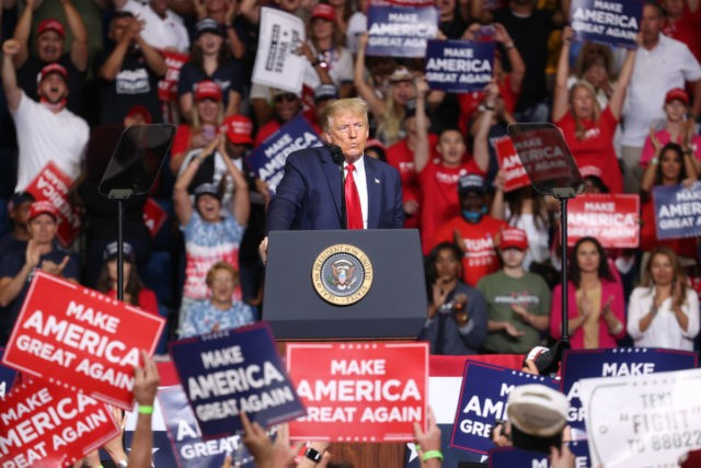 TULSA, OKLAHOMA - JUNE 20: U.S. President Donald Trump speaks at a campaign rally at the BOK Center, June 20, 2020 in Tulsa, Oklahoma. Trump is holding his first political rally since the start of the coronavirus pandemic at the BOK Center today while infection rates in the state of …