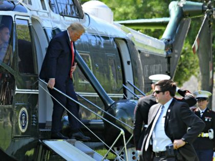 US President Donald Trump arrives at West Point, New York, on June 13, 2020. - Trump is delivering the commencement address at the 2020 US Military Academy Graduation Ceremony. (Photo by Nicholas Kamm / AFP) (Photo by NICHOLAS KAMM/AFP via Getty Images)
