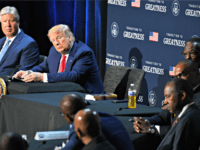 US President Donald Trump (2nd L) hosts a roundtable with faith leaders, law enforcement officials, and small business owners at Gateway Church Dallas Campus in Dallas, Texas, on June 11, 2020. (Photo by Nicholas Kamm / AFP) (Photo by NICHOLAS KAMM/AFP via Getty Images)