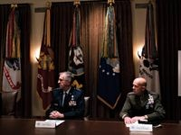 WASHINGTON, DC - MAY 09: General John Hyten, Vice Chairman of the Joint Chiefs of Staff and General David Berger, Commandant of the United States Marine Corps, listen a meeting between President Donald Trump, Senior Military Leadership and the National Security Team the Cabinet Room of the White House in …