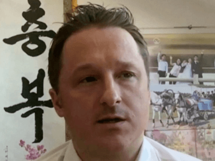 In this March 2, 2017, file image made from video, Michael Spavor, director of Paektu Cultural Exchange, talks during a Skype interview in Yanji, China. China has charged two detained Canadians with spying in cases linked to Canada's arrest of a Huawei executive on U.S. charges. Chinese prosecutors said Friday, …