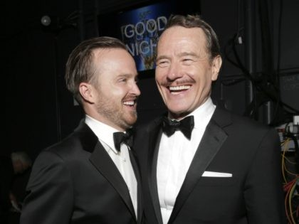 EXCLUSIVE - Aaron Paul, left, and Bryan Cranston pose backstage at the 66th Primetime Emmy Awards at the Nokia Theatre L.A. Live on Monday, Aug. 25, 2014, in Los Angeles. (Photo by Todd Williamson/Invision for the Television Academy/AP Images)