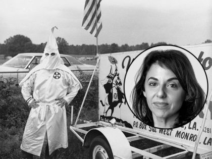 (INSET: New York Times reporter Annie Karni) The sign and the hooded figure draw attention to a Ku Klux Klan encampment on a rented meadow beside U.S. 71 near Campti, La., August 16, 1974. It was the scene of a recruitment rally for the United Klans of America, Inc., richest …