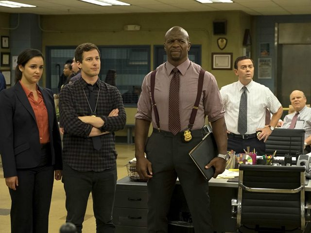 Dirk Blocker, Terry Crews, Melissa Fumero, Joe Lo Truglio, and Andy Samberg in Brooklyn Nine-Nine (2013)