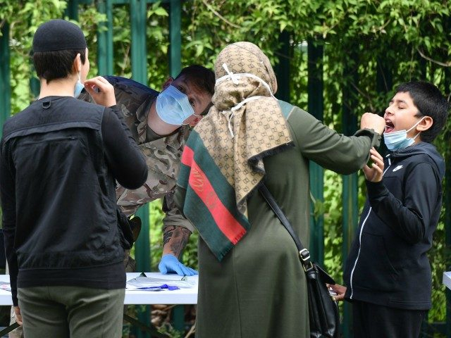 A member of the armed forces watches as members of a family administer a self-test at a station set up for the testing for the novel coronavirus COVID-19, in Spinney Hill Park in Leicester, central England, on June 30, 2020. - Britain on Monday reimposed lockdown measures on a city …