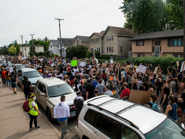Demonstrators calling to defund the Minneapolis Police Department march on University Avenue on June 6, 2020 in Minneapolis, Minnesota. The march, organized by the Black Visions Collective, commemorated the life of George Floyd who was killed by members of the MPD on May 25. (Photo by Stephen Maturen/Getty Images)