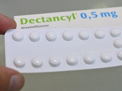 A picture taken on June 16, 2020 in Paris shows tablets of Dectancyl, a drug manufactured by Sanofi containing dexamethasone. - The steroid dexamethasone has been found to save the lives of one third of the most serious COVID-19 cases, according to trial results hailed on June 16, 2020 as …