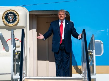 President Donald J. Trump disembarks Air Force One on his arrival Saturday, June 20, 2020, to Tulsa International Airport in Tulsa, Okla. (Official White House Photo by Tia Dufour)